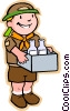 Vector Clip Art picture  of a boy scout on a bottle-drive