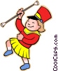 girl with baton Vector Clip Art picture