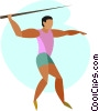 Vector Clip Art image  of a javelin throwing