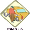 Vector Clip Art graphic  of a gas station