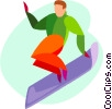 Vector Clipart illustration  of a snow boarder