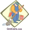 Vector Clip Art picture  of a janitor