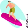 Vector Clipart image  of a surfer