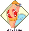 Vector Clip Art image  of a Lifeguard with binoculars
