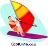 Vector Clipart graphic  of a Wind surfer