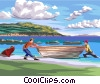 men bringing in small fishing boat from the sea Vector Clip Art image
