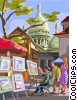 European market scene, artist painting Vector Clipart illustration