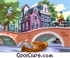 Vector Clip Art image  of a European canal