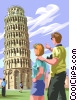 Vector Clipart illustration  of a Leaning Tower of Pisa