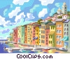 Vector Clip Art graphic  of a European harbor
