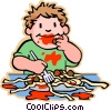 Vector Clip Art graphic  of a boy eating spaghetti and meat