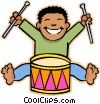 Vector Clipart graphic  of a boy playing drum