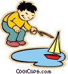 boy sailing boat Vector Clipart illustration