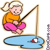 Vector Clip Art image  of a girl fishing
