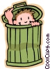 Vector Clip Art graphic  of a boy hiding in garbage can