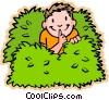 Vector Clipart graphic  of a boy hiding in bushes