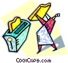 human form placing a slice of bread in toaster Vector Clipart picture