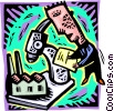 Vector Clip Art image  of a Investigating industry under a