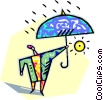 human form with an umbrella Vector Clipart illustration