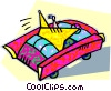 Vector Clip Art graphic  of a human form driving a car