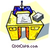 human form at desk with papers Vector Clip Art picture