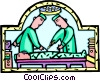Vector Clip Art graphic  of a doctors in the operating room