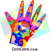 Vector Clip Art image  of a Human hand design time symbols
