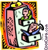 office workers in a filing cabinet Vector Clipart illustration