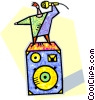 Vector Clip Art graphic  of a Person singing karaoke