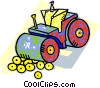 Man on steam roller Vector Clipart image