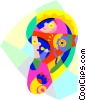 human ear design with sound symbols Vector Clipart illustration