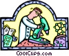 laboratory technician with microscope Vector Clipart illustration