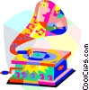 Vector Clip Art graphic  of a phonograph. gramophone