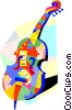 Vector Clipart graphic  of a cello design with musical