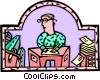 Vector Clip Art graphic  of a woman working at a desk