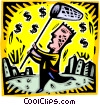 man with a butterfly net chasing dollar signs Vector Clipart image