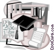 post graduate studies with higher learning symbols Vector Clipart image