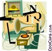 Vector Clipart illustration  of an antique phonograph