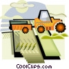 agricultural harvest tractor, farm equipment Vector Clipart illustration
