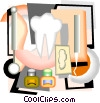 Vector Clip Art image  of a Dental hygiene in a neo-modern