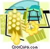 apiary, honeybees, honey Vector Clip Art picture