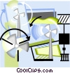 Vector Clipart illustration  of a wind energy
