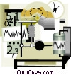 seismology science monitoring equipment Vector Clipart illustration