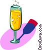 Vector Clip Art image  of a glass of champagne
