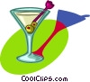 Vector Clip Art graphic  of a martini with olives