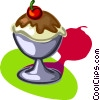 chocolate sundae, dessert Vector Clipart graphic