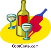 bottle of wine with wine glasses Vector Clipart picture