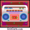 music box, boom box, tape player Vector Clipart picture