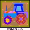 Vector Clipart picture  of a farm tractor in decorative