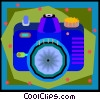 35mm camera in decorative frame Vector Clip Art picture